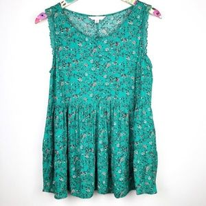 LC Lauren Conrad Floral Lace Detail Sleeveless Top